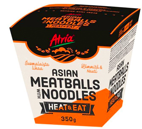 Atria Heat & Eat Asian Meatballs with Noodles 350g.
