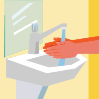Washing hands under running water.